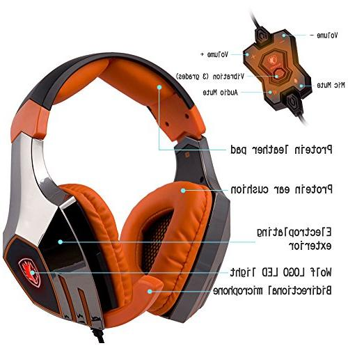 SADES Surround Stereo PC Pro Gaming Headset Headphone with High Sensitivity Mic