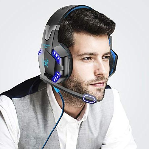 VersionTECH. G2000 Surround Stereo Headphones with Cancelling Mic, LED Light Memory Earmuffs, Xbox PS4, Games -Blue