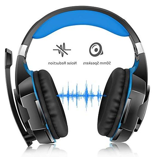 VersionTECH. Surround with Cancelling Mic, LED Memory Works Xbox PS4, Nintendo Switch, Games -Blue