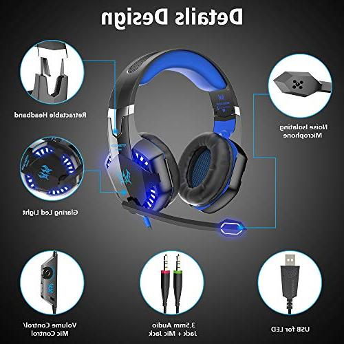 VersionTECH. G2000 Gaming Headset, Surround Stereo with LED Memory Works with Xbox One, PS4, Nintendo Switch, Games -Blue