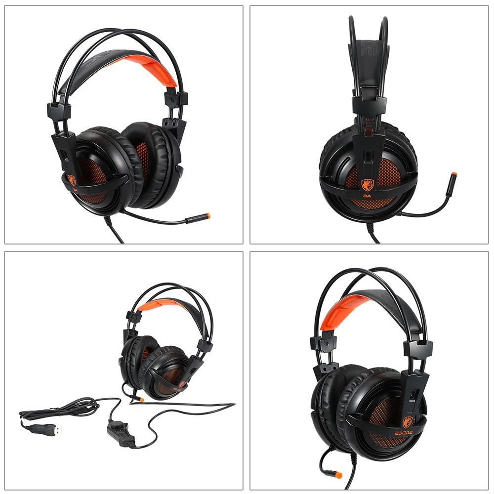 SADES Stereo headphones game <font><b>headset</b></font> with Voice control for laptop computer gamer