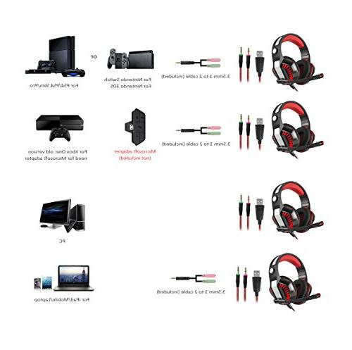 Beexcellent Surround Gaming Headset, Ear Noise Cancelling Stereo Xbox Phone, Laptop Nintendo Switch