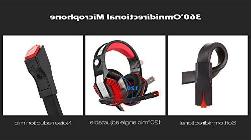 Beexcellent Gaming Headset, Noise Mic LED Stereo PC Headset VR, Computer Xbox One, Phone, Laptop