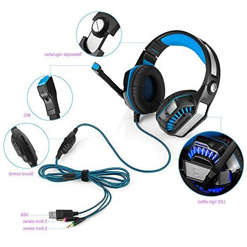 Beexcellent GM-2 Gaming Over-Ear LED Lights Volume Bass, Noise Cancelling, PC Headset Xbox One, Tablet