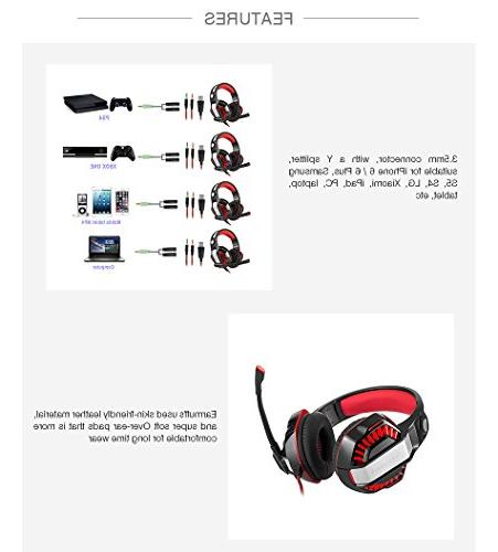 Beexcellent Over-Ear Headset Mic, Lights Control Stereo Bass, Noise One,