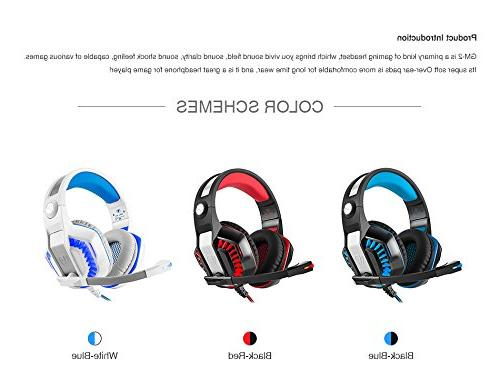 Beexcellent Pro Over-Ear Lights Volume Control Stereo Bass, Noise Cancelling, PC Headset PS4 One, Laptop,