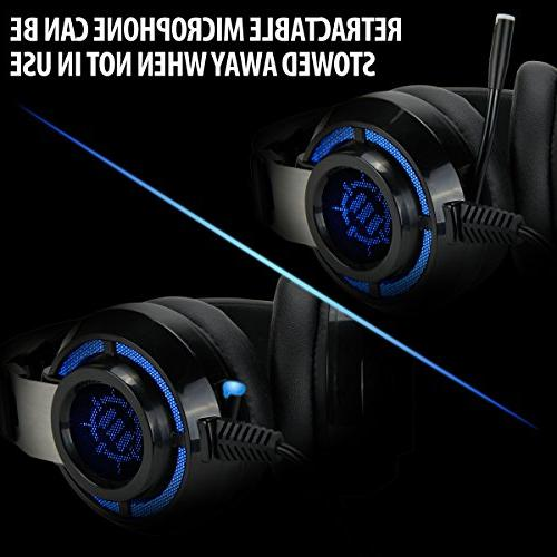 ENHANCE Gaming for Computer & with USB 7.1 Sound , Interactive Vibration LED Lighting , & Microphone TeamSpeak Certified