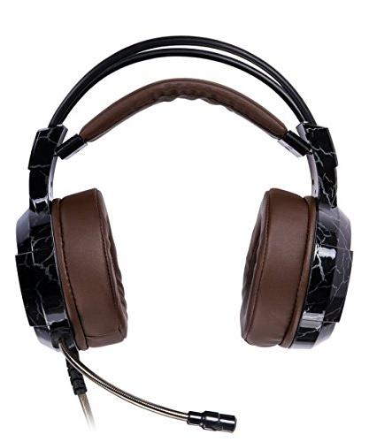 Headset Wired Volume Control Enhanced Noise Headband with PC PS4 Laptop Mac(Brown