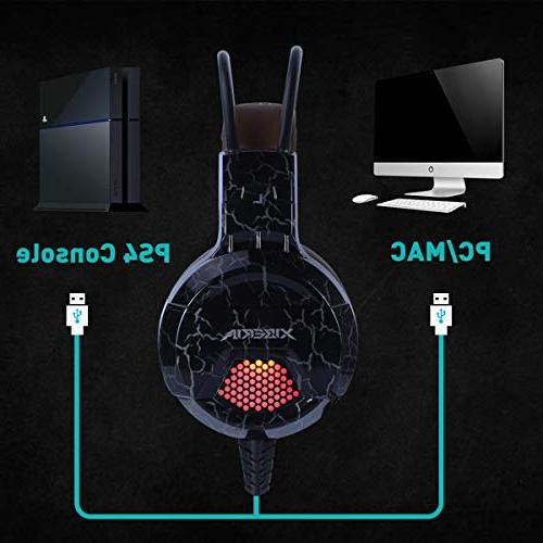 XIBERIA E1 USB Headset Microphone,Over Wired Computer Headphones, Volume Control Noise Canceling Flexible with PS4