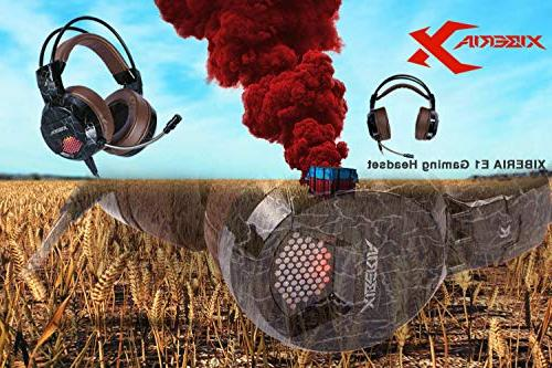 XIBERIA Headset with Wired Volume Control Bass Noise Canceling Flexible Headband with LED PS4 Laptop Mac(Brown