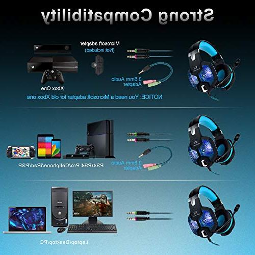 Stereo Mic for PC Xbox Over Headphones Jack Laptop Mac,USB RGB LED Noise & Volume Control