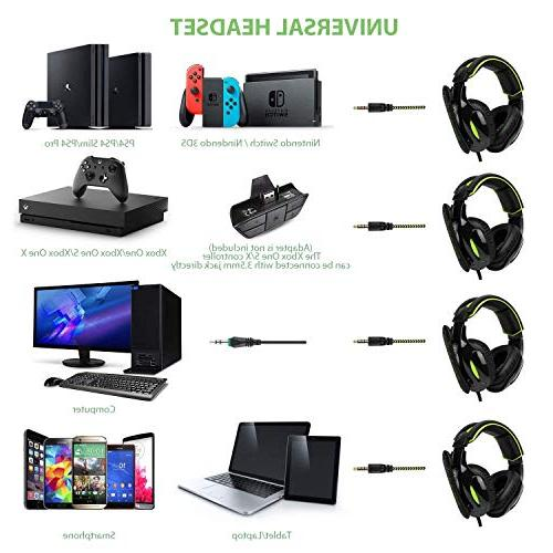 SUPSOO Gaming 3.5mm Stereo Wired Over Headset with Mic&Noise & Control Xbox One/PC/Mac/PS4/Nintendo/Phone