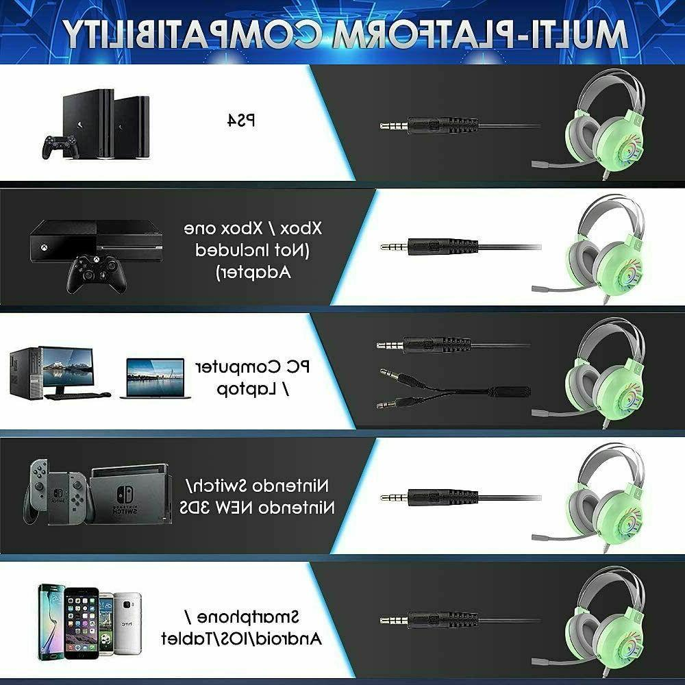 Gaming Headset 3.5mm Stereo Wired RGB for PS4/