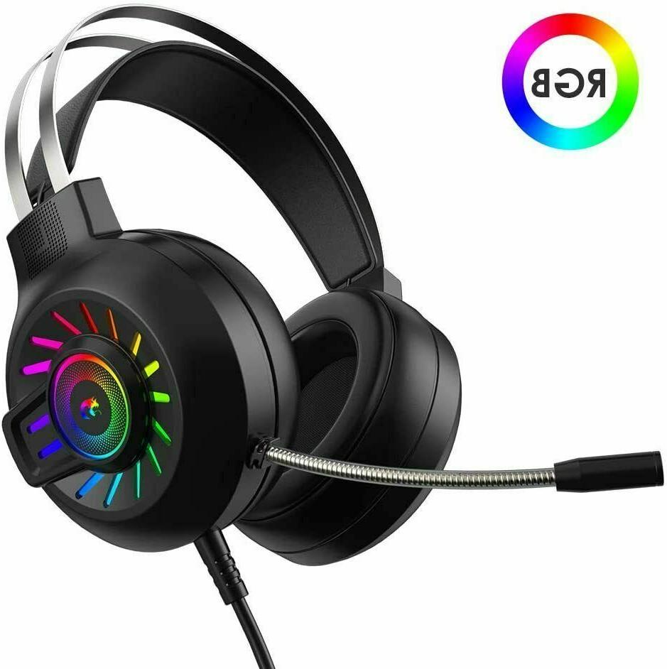 gaming headset 3 5mm stereo wired rgb