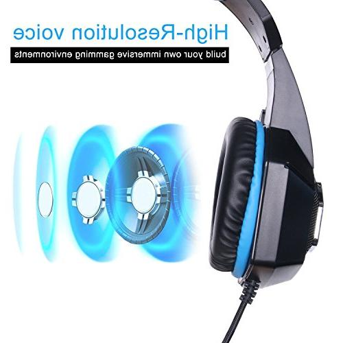 Fuleadture PS4 Xbox Gaming Mic, Noise Over Bass Earmuffs Laptop Nintendo Switch Games