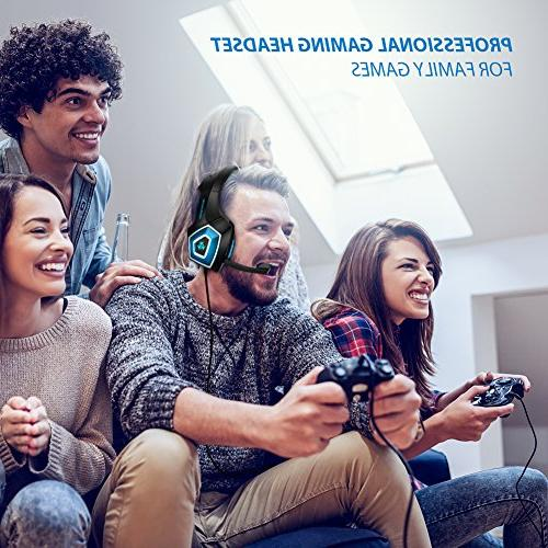 Fuleadture Headset PS4 Gaming Noise Cancelling Ear Headphones LED Bass Soft Earmuffs for Laptop Mac Nintendo Switch Games