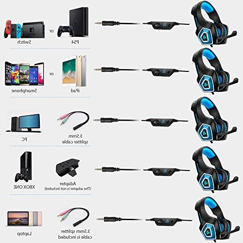 Fuleadture Gaming PS4 Gaming with Noise Ear Headphones LED Bass Surround, Soft Nintendo Switch