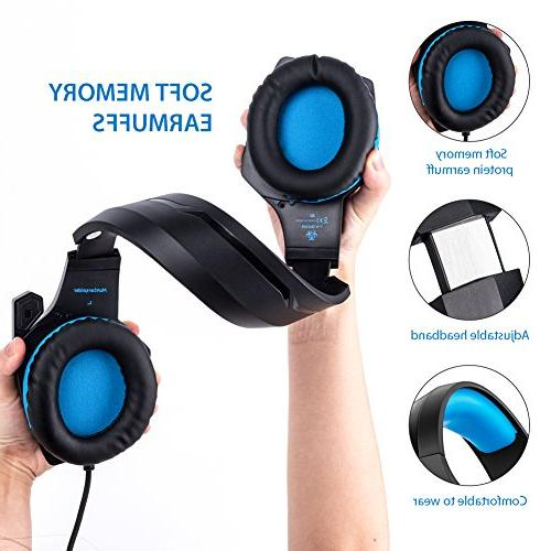 Fuleadture Headset PS4 Xbox Gaming Noise Cancelling Over Headphones with Light, Bass Surround, Soft Earmuffs Nintendo Switch Games
