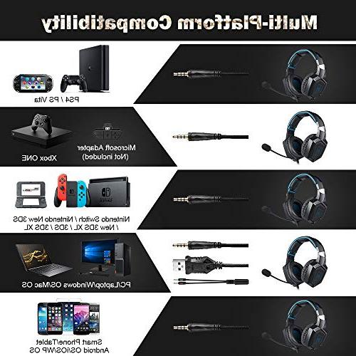 RUNMUS Stereo Headset for Nintendo Mac, Over Headphones PS4 Headset One Headset Sound, Light Noise Canceling