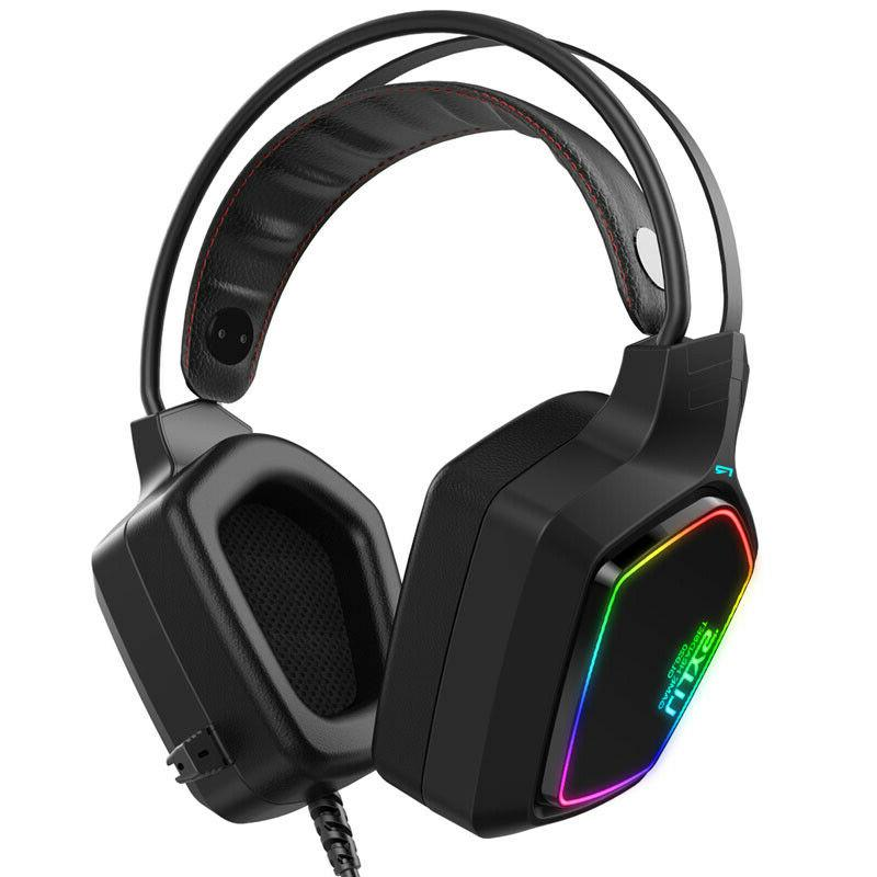 Gaming Headset Mic LED Headphones Stereo Bass Surround For
