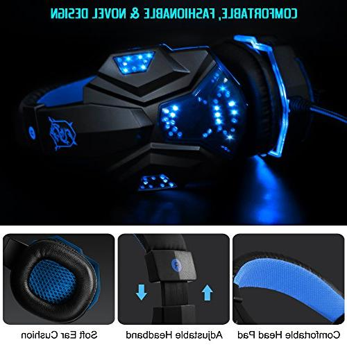 Gaming Headset with Mic and LED Laptop and so 3.5mm Wired Isolation Gaming Control.