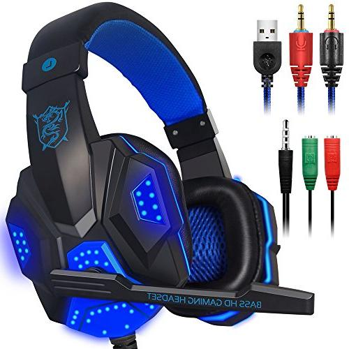 gaming headset mic led light laptop computer cellphone ps4 d
