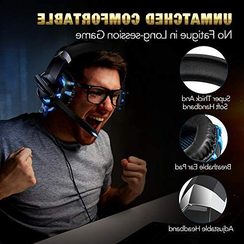RUNMUS Gaming PS4 Headset, Cutting-Edge 7.1 Sound Stereo One Headset, Mic, Soft Compatible for One, Mac, Switch