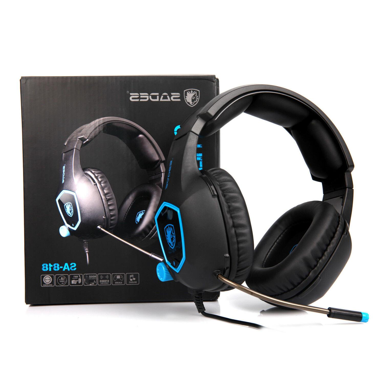 Sades Gaming Headset Stereo Headphone 3.5mm W/Mic For PS4 Latop