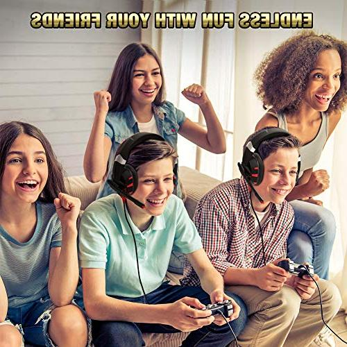 RUNMUS Xbox One with Surround Sound Headset Noise Mic Compatible PC, PS4, Xbox One Switch