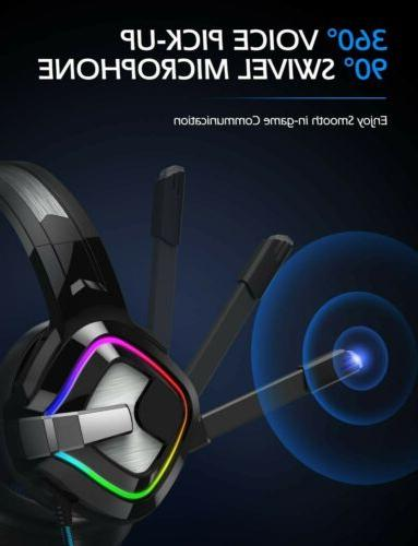 PS4 Gaming Headset Kingtop Xbox One LED Lighting Computer He