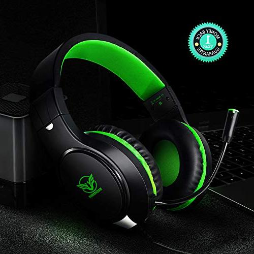Karvipark H-10 Gaming Headset for Xbox One/PS4/PC/Nintendo Switch|Noise Cancelling,Bass Sound,Over Ear,3.5mm Stereo Wired Mic Clear