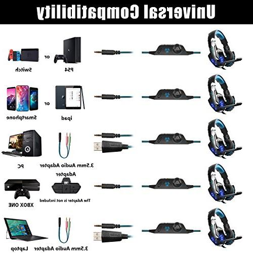 Hunterspider PS4, with Over Light, Bass Surround, Memory Earmuffs Mac Switch