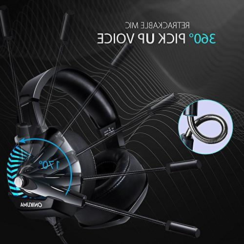 ONIKUMA for PS4, One, Stereo Headphones Laptop, with Mic, Ear Volume Control -Black
