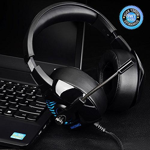 ONIKUMA for PC, Xbox One, Stereo Laptop, Mac, with 7.1 LED Mic, Breathing Volume Control