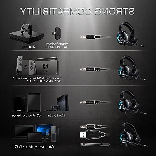 ONIKUMA II Gaming Headset for PC, One, for Laptop, Mac, Nintendo with 7.1 LED Lights, Mic, Breathing Pads, Volume