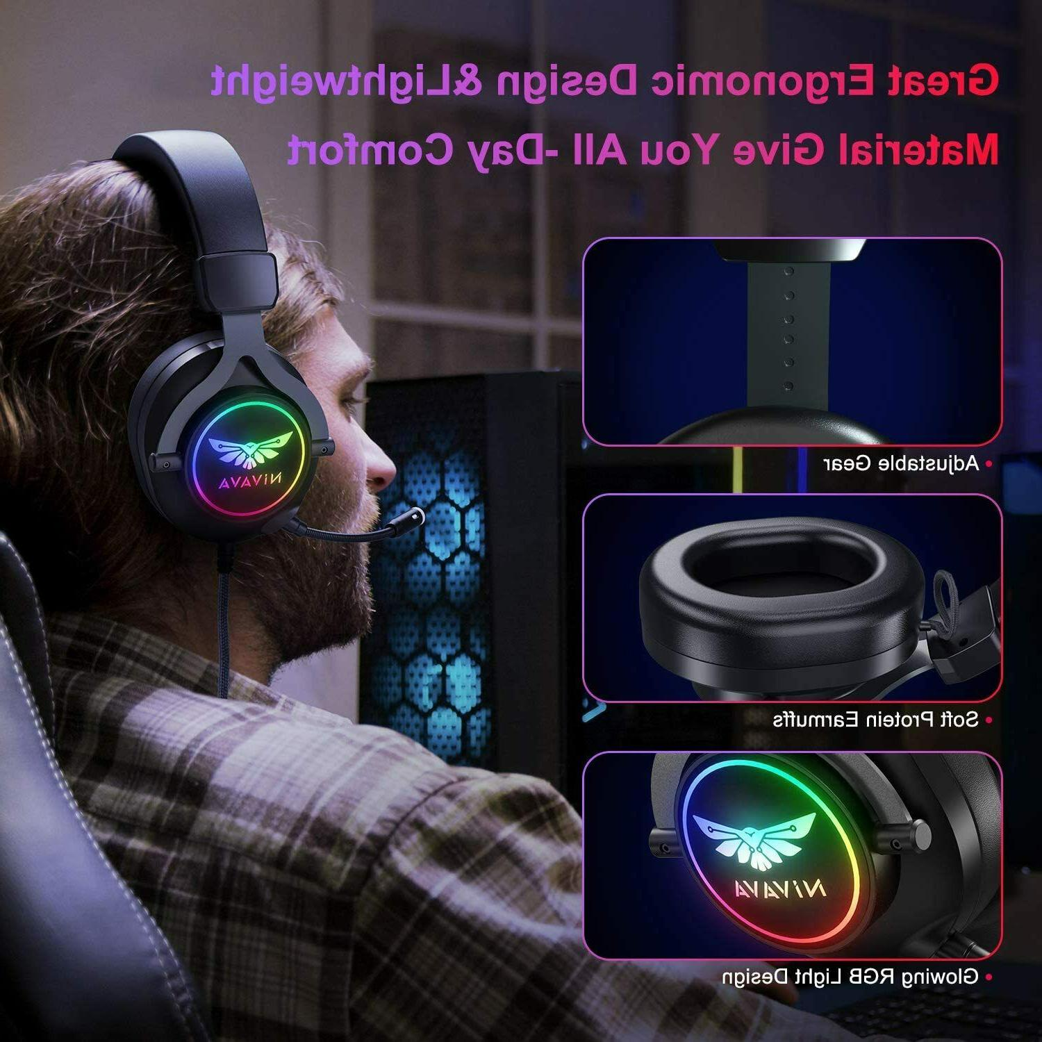 Nivava K11 Headset for PS4, One, PC with Microphone