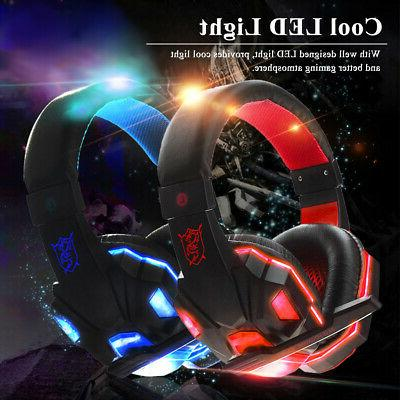 LED 3.5mm Headset Headphones Surround Headset For PC