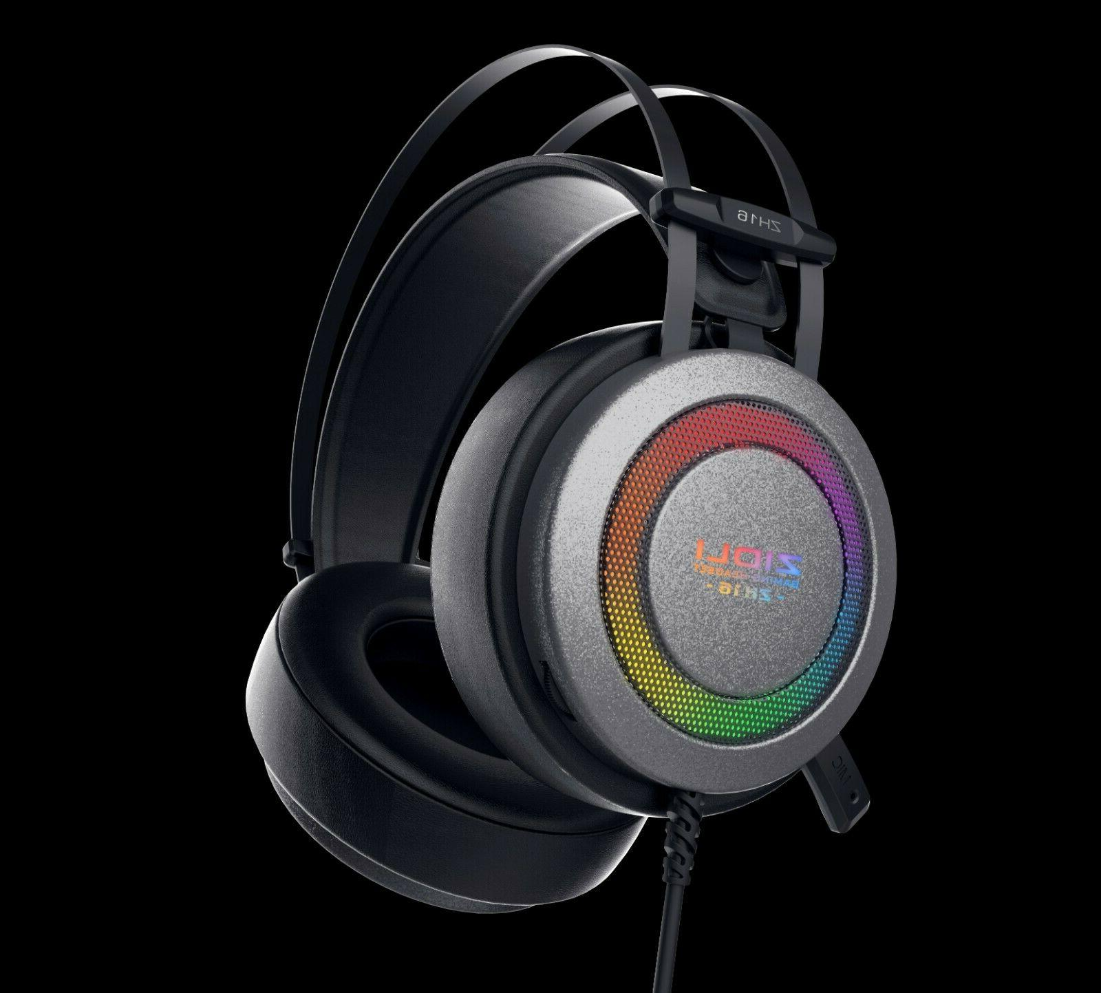 lights gaming headset zidli zh16 for ps4