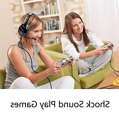 PS4 Headset, Beexcellent Gaming Headset, Isolating 3.5mm Xbox with LED Volume Control PC Phone