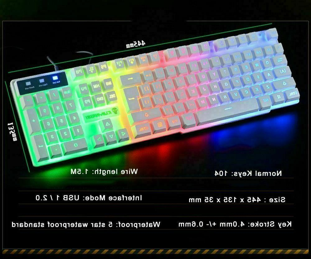 Rainbow Gaming Keyboard Headset Mice Pad 4in1 PS4 PC
