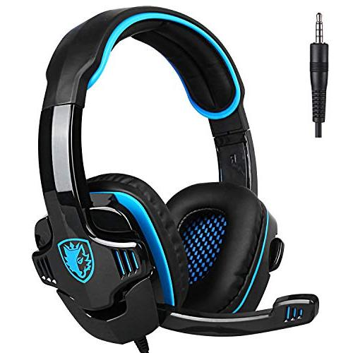SADES SA708GT for Xbox PS4, PC, Controller, Cancelling Over Mic, Bass Surround Soft Memory Earmuffs for Laptop