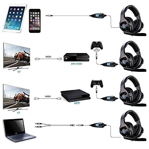 Sades Single Ear Microphone and PC for Xbox 4 Laptop Blue