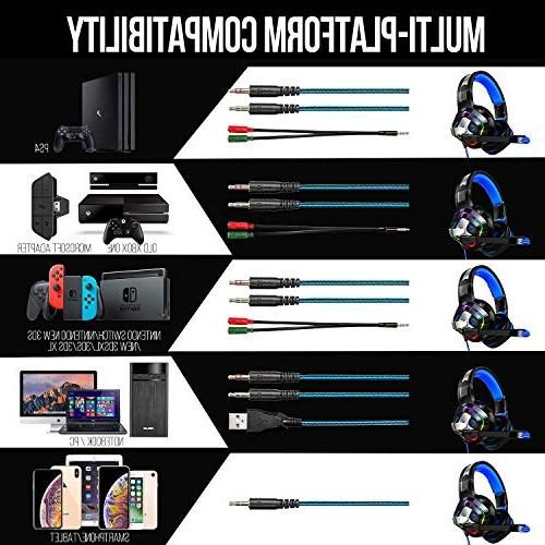 ZIUMIER Stereo Gaming Headset for Xbox One, Surround Headphones Mic, RGB Soft Comfort for Laptop, Nintendo