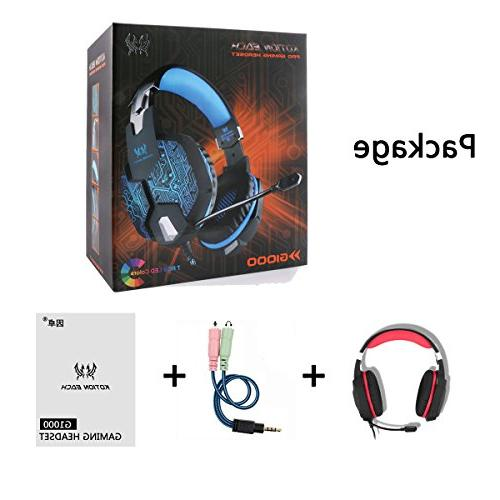 Gaming Headset with for PS4 Surround Key Mute USB LED Light Reduction