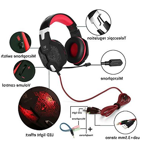 Gaming Headset Mic for PS4 Nintendo Surround Key Mute USB Reduction