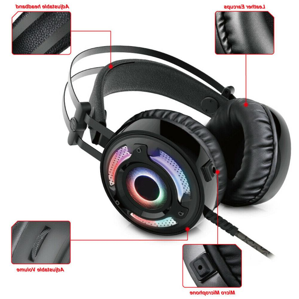 Pro Gaming PS4 Headset MIC RGB LED Surround 3.5mm for PC Lap