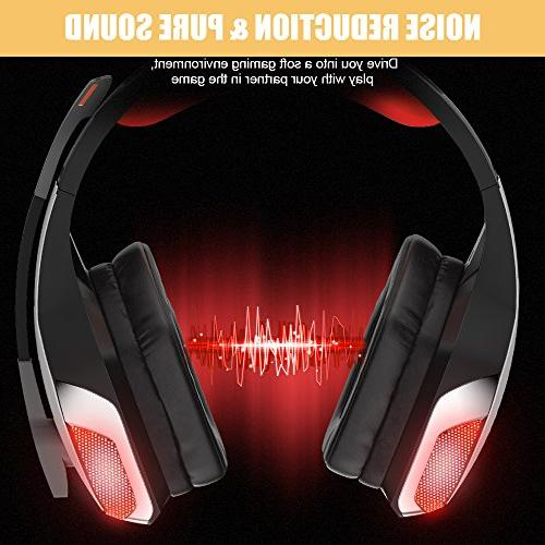 BENGOO V-4 Gaming Headset for Xbox One, Over LED Bass Computer Laptop Mac Nintendo Switch -Red