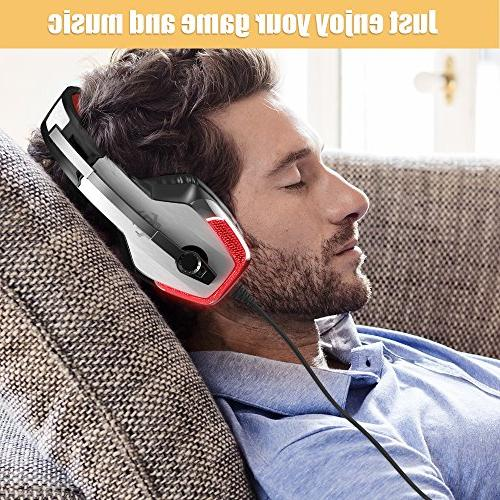 BENGOO Gaming for PC, Controller, Cancelling Over Headphones LED Soft Earmuffs Computer Laptop Mac Nintendo Switch -Red