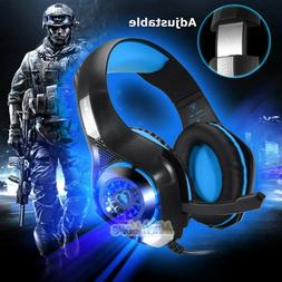 LED Gaming Headset for PS4 New Xbox One 3.5mm Over Ear Mic H