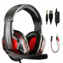 LED Gaming Headsets for PS4 Xbox One PC Surround Sound with